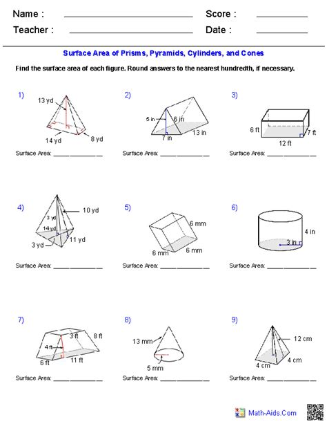 surface area of pyramids cones and spheres worksheet prisms pyramids cylinders cones surface area