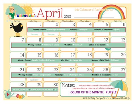 preschool calendars christian children activities 987 | April 2013 Calendar2 1024x791