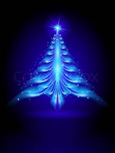 Abstract, Blue, Christmas, Tree, On, Black, Background, Illustration, Designer