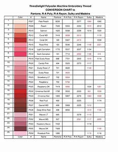 Robison Anton Thread Conversion Chart Threadelight Polyester Machine Embroidery Thread