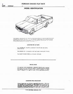 Chevrolet Luv Pickup Chassis Parts List Part Numbers