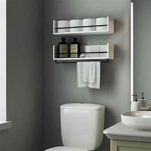 Lovely, White, Bathroom, Shelves, Pattern