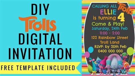 trolls digital invitation