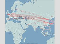 Air China route map Europe