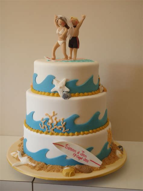 themed cakes the little oak tree surfing couple wedding cake beach theme