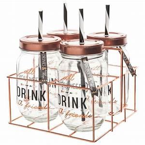 Paille En Metal : 4 bocaux avec paille support m tal drink maisons du monde ~ Teatrodelosmanantiales.com Idées de Décoration