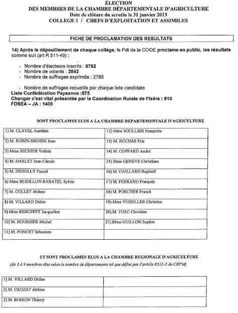 chambre d agriculture de l isere elections chambres d agriculture résultats complets en