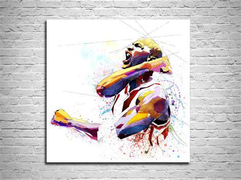 michael jordan canvas print basketball art print sports
