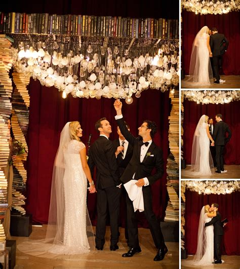 Creative Ceiling Design by Jessie Amp Craig Spectacular Book Themed Jewish Wedding At