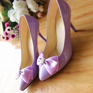 Light purple handmade single shoes bow high heeled wedding ...