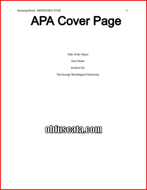 cover page template apa apa cover page