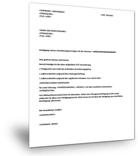 kuendigung kfz versicherung muster