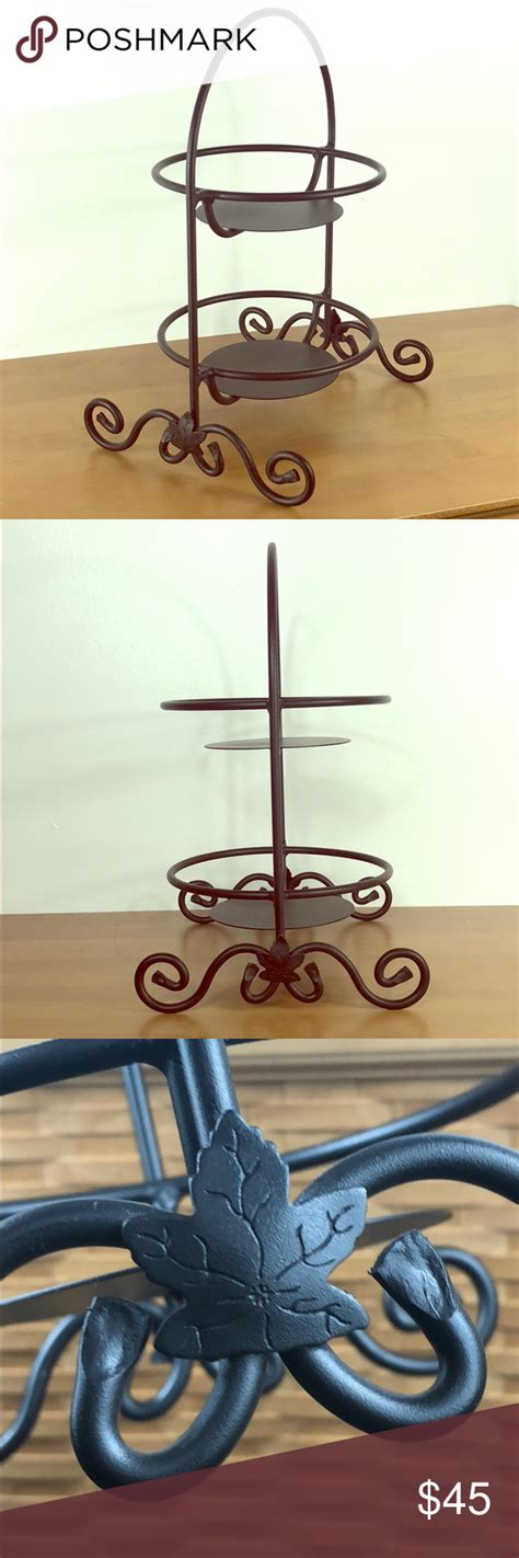 longaberger wrought iron  tier pie plate stand plate stands wrought iron wrought