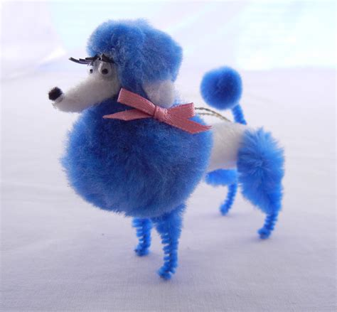 retro poodle christmas ornament in blue and white 50s 60s
