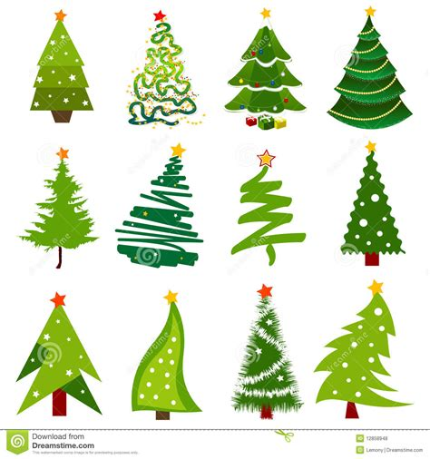 christmas tree icons stock vector image of plant