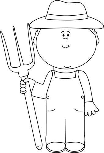 white farmer boy clip art image black  white outline   farmer black  white
