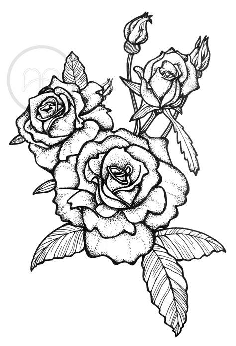 Rose tattoo, pointilism Illustration by Studio Anika Bosker | Rose Tats | Dessin