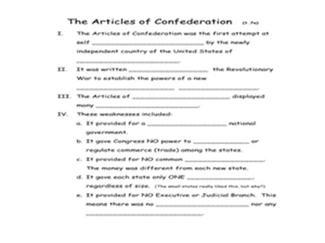 the articles of confederation 5th 8th grade worksheet lesson planet