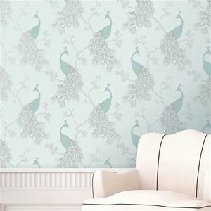 FINE DÉCOR TEAL DUCK EGG WALLPAPER – SHABBY CHIC – OWL