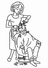 Hairdresser Coloring sketch template