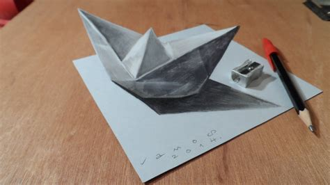 How To Make A Realistic Paper Boat by Drawing A 3d Paper Ship Optical Illusion By Vamos