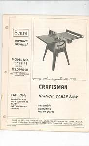 Sears Craftsman 10 Inch Table Saw Owners Manual 113 299142