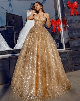 shoulder gold glistening prom ball gown lunss
