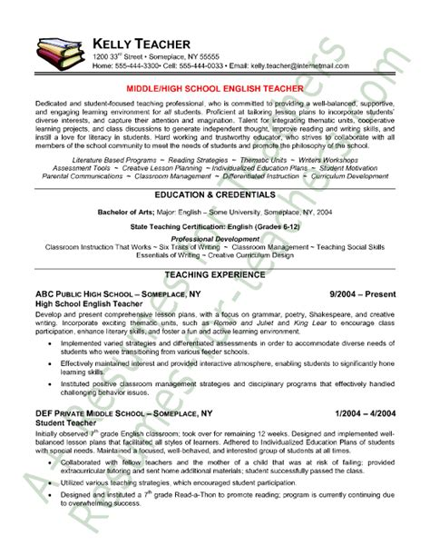 English Teaching Templates by Teacher Resume English Teacher Resume Sle Teacher