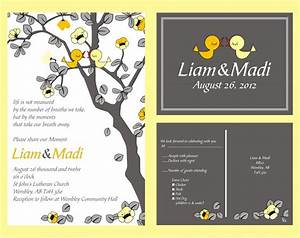 custom personalized wedding invitations with love birds With wedding invitations with trees and birds