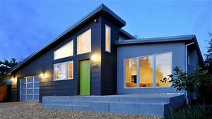 Awesome Modern House With Slanted Roof And Green Door Come