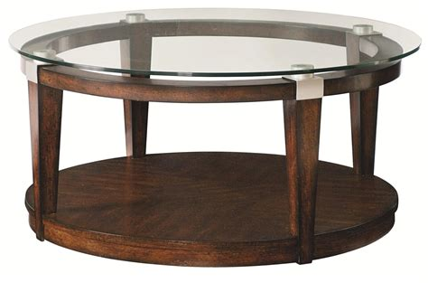 Round, modern & contemporary, coffee tables : Hammary Solitaire 247-911 Contemporary Round Coffee Table with Glass Top   Hudson's Furniture ...