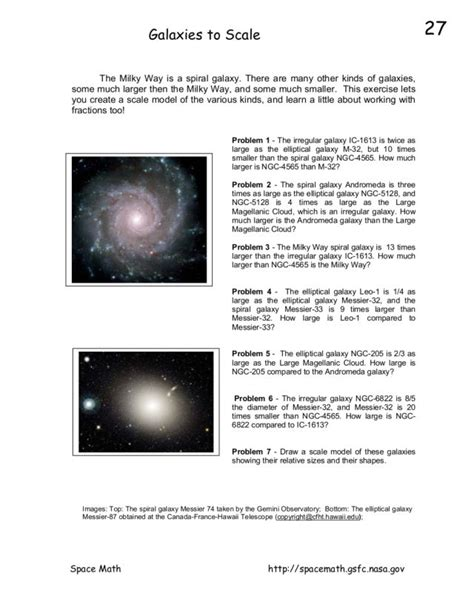 Galaxies to Scale Worksheet for 9th - 12th Grade | Lesson ...