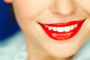 Lips with Red Lipstick Smile