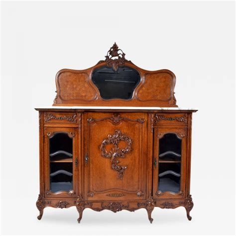 Antique Marble Top Sideboard by Antique Louis Xv Oak Marble Top Sideboard Buffet Cabinet