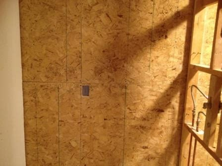 cement backer board installed  plywood wall