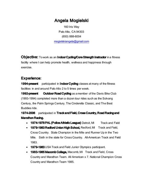Fitness Resume by Fitness Resume Objective Resume Ideas