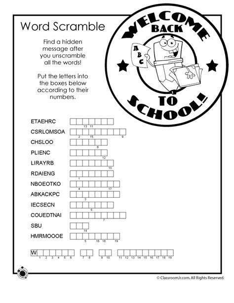 back to school worksheets back to school word scramble