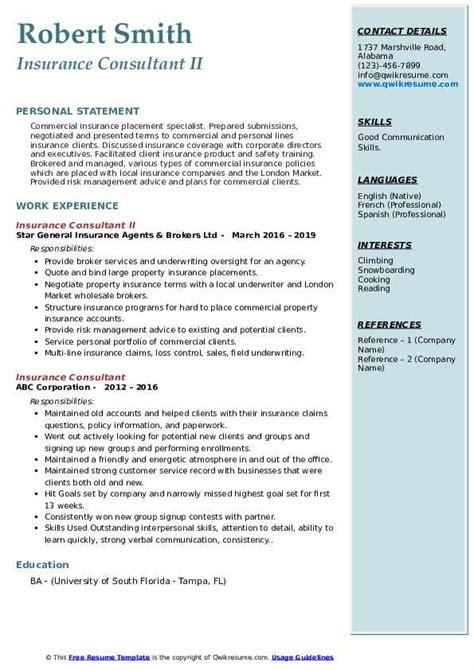 Start your new career right now! Insurance Consultant Resume Samples | QwikResume
