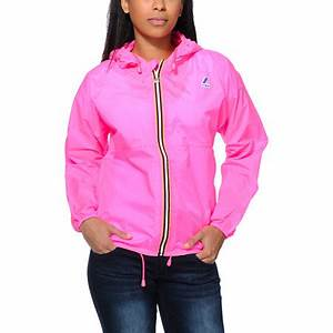 K Way Claudette Klassic Neon Pink Windbreaker Jacket at