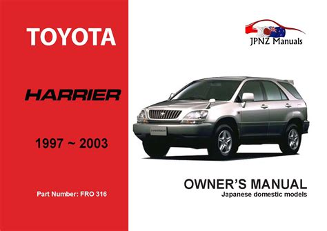 toyota harrier car owners user manual