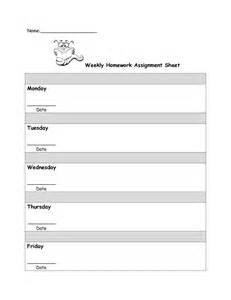 Weekly Homework Assignment Sheet Template