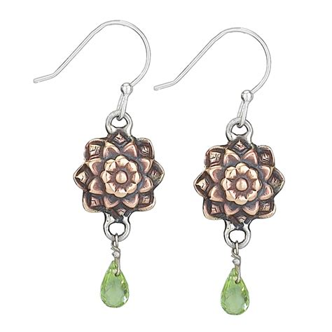 Stamp Copper Flower with Peridot Drop Earrings