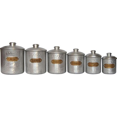 canisters kitchen complete set of six vintage aluminum kitchen