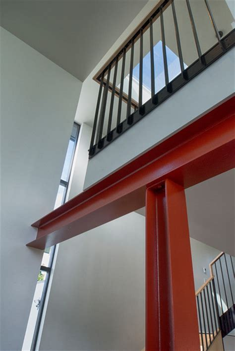 steel column and stair atrium   Modern   Living Room