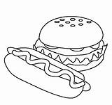 Hamburger Coloring Food Pages Printable Drawing Sheets Hamburgers Easy Models Clipart Colouring Healthy Dinner Fun Burgers American Recipes Fast Sheet sketch template