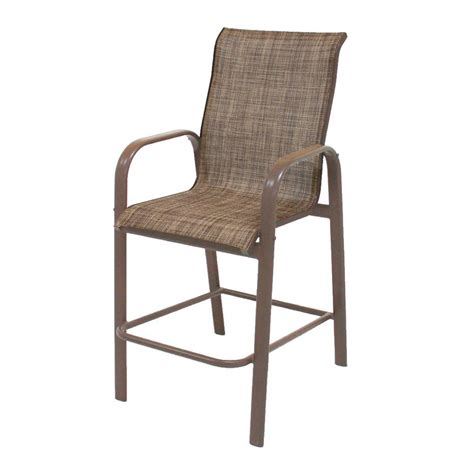 patio sling chairs marco island brownstone grade aluminum bar