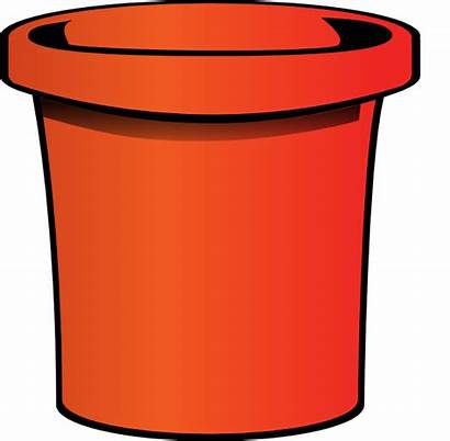 Bucket Clipart Clip Pail Vector Simple Orange