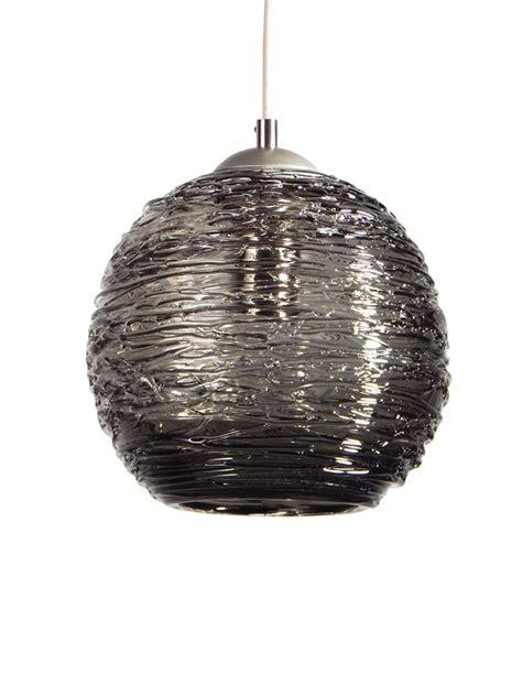buy  handmade smoke grey spun glass pendant light