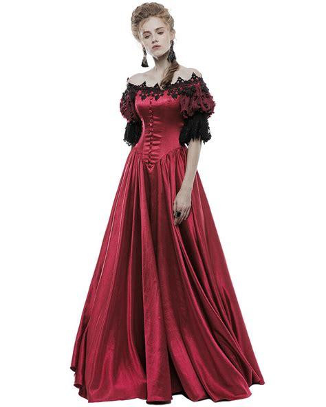 Punk Rave Gothic Wedding Dress Long Red Steampunk Vtg