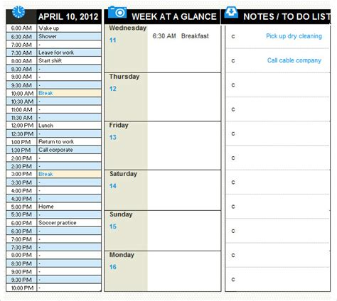 daily planner templates  samples examples